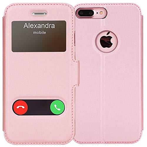 FYY iPhone 8 Plus Hülle, iPhone 7 Plus Hülle,Premium PU Lederhülle Flip Leder Cover Hülle Tasche Handytasche Shell für iPhone 8 Plus/iPhone 7 Plus,Rosa Gold