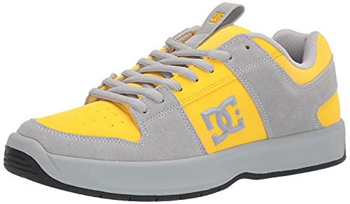 DC Men's Lynx Zero Casual Skate Shoe, Grey/Yellow, 12