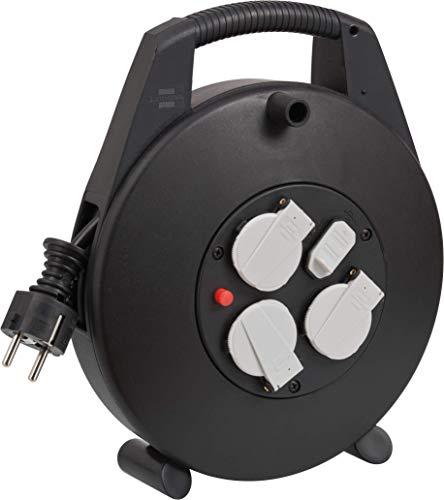 Brennenstuhl Vario Line Kabelbox 3-fach mit USB / Mini-Kabeltrommel für den Innenbereich (Indoor-Kabeltrommel mit USB-Ladefunktion und 10m Kabel, Made in Germany), Schwarz