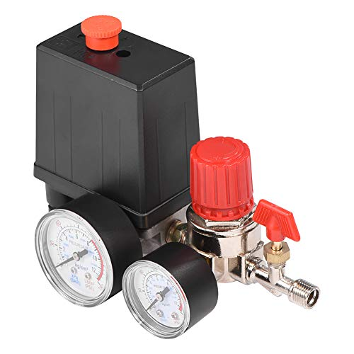 Válvula de control del interruptor de presión del compresor de aire, regulador de presión de aire con manómetros de alta precisión y respuesta rápida con anillo de sellado tipo V