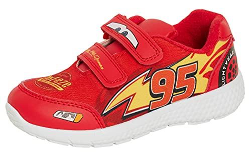 Disney Cars Jungen Turnschuhe Kinder Lightning McQueen Sportschuhe Easy Fasten Sneakers Skate Pumps, rot, 25 EU