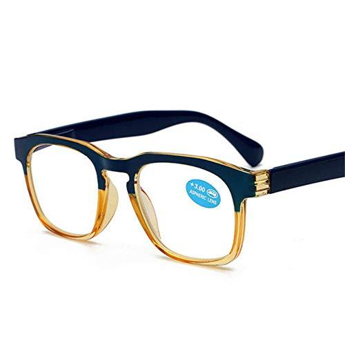 Retro Leesbrillen Dames Heren Ultra Licht Verziend Bril Mode Uniesx Brillen op sterkte # 11, 100, C3 Blauw