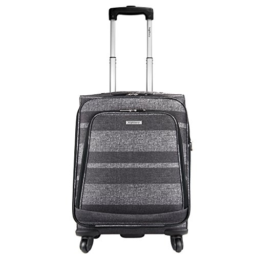 HIGHBURY - 4 Spinner Wheel Suitcase Trolley Case - Grey Stripe 18 INCH (Small Case, Cabin Approved)