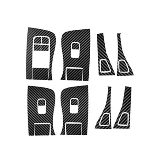 ZHANGXL XELIAN 14pcs Fit para Tesla Modelo Modelo 3 Y ABS ABS Levantador de la Ventana Interruptor de la Puerta Botones de la Cubierta del Marco Decorativo Pegatina de Ajuste para 2018 2019 2020 2021