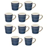 Artisan Espresso Mugs 3 Oz. - 10 pack - Handcrafted Pottery Stoneware Cups With Rustic Handmade Style - Pottery Features A Decorative Glossy Polish - Navy Blue
