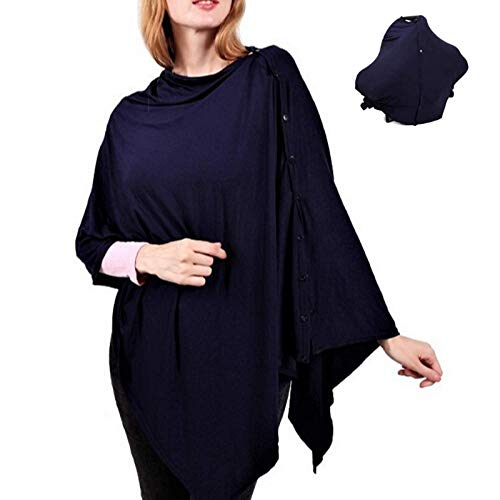 Nursing Cover for Breastfeeding Moms-Infant Car Seat Canopy Stretchy Poncho Style with Snap On Buttons Soft Baby Blanket Elegant Shawl Hair Tie Included Great Gift (Navy Blue)
