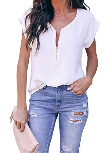 ZKESS Womens Casual Loose Half Zipper Up Short Sleeve Tops V Neck Tunic Blouse Tshirts Summer Tops Work White Small Size
