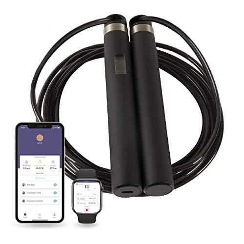 Silvergear Smart Springseil mit Zähler und App, Einstellbare Größe 3 Meter, Wiederaufladbar, Android und Apple, Fitness