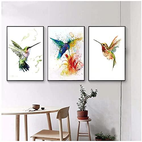 MENGX Impresión de Lienzo de Creatividad, colibrí de Acuarela Abstracta recogiendo Carteles de néctar e Impresiones de Arte de Pared, Sala de Estar, decoración del hogar, sin Marco