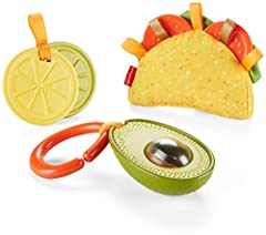 """3 food themed sensory toys in 1 adorable gift set Taco includes crinkle shell, soft lettuce, tomato teethers, and ribbon """"beans"""" and """"cheese"""" Avocado rattle features fun textured peel and spinning rollerball seed Shake up some fun with the lemon and ..."""