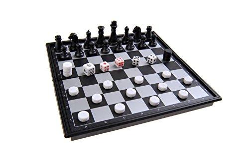 Quantum Abacus Magnetisches Brettspiel (Mini Reise-Edition): Schach, Backgammon - magnetische Spielsteine, Spielbrett zusammenklappbar, 15x15x1.5cm, Mod. SC53810 (DE)