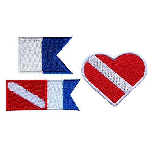 perfk Emblema con Bandera de Alfa Accesorio Recuerdo Buceo con Parche Insignia para Ropa Impermeable, Regalo para Hombre Niños