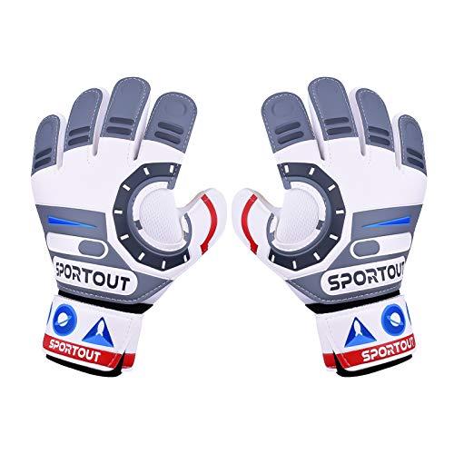 Sportout Guantes de portero para niños, guantes de fútbol para niños y niñas,con Fuerte Agarre y Protección para los Dedos,adecuados para entrenamiento y competición