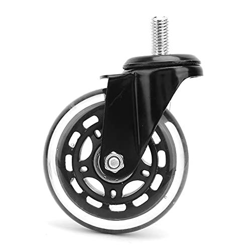 Rotella, rotella in PU girevole a 360 gradi nera, 5 pezzi per sedia da ufficio(Elettroforesi a vite da 3 pollici)