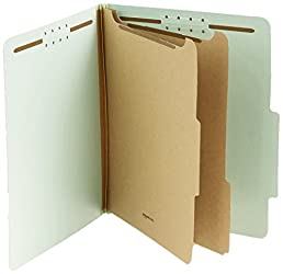 Amazon Basics Pressboard Classification File Folder with Fasteners, 2 Dividers, 2 Inch Expansion, Le