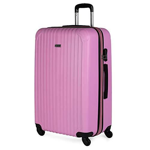 ITACA - Maleta de Viaje Grande XL rígida 4 Ruedas Trolley 76 cm de abs. Dura Extensible y Ligera. Gran Capacidad. Estudiante y Profesional. candado Integrado. t71570, Color Rosa