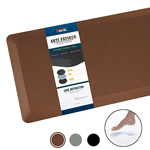 Anti Fatigue Mat Kitchen Mats Cushioned,Thicken Core Foam 20x39x9/10-Inch,Perfect for Kitchens,Standing Desks and Garages,Phthalate Free,Relieves Foot,Knee,and Back Pain(Brown,20'x39')