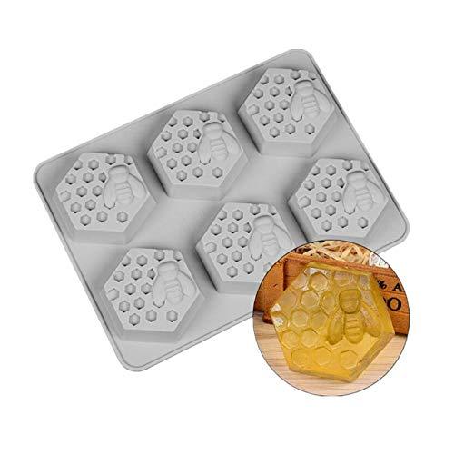 Voarge 6 Loch Biene Und Waben Muster Seife Silikon-Formen, für Seife, handgefertigt, für Schokolade, Pudding, Fondant, Mousse, Kuchendekoration, DIY Kuchen-Formen Süße Süßigkeiten-Schokolade