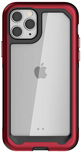 Ghostek Atomic Slim Phone Case for iPhone 11 Pro Max Clear with Red Aluminium Bumper Heavy Duty Protection Premium Metal Design Rugged Protective Shockproof 2019 iPhone 11Pro Max (6.5 Inch) - (Red)