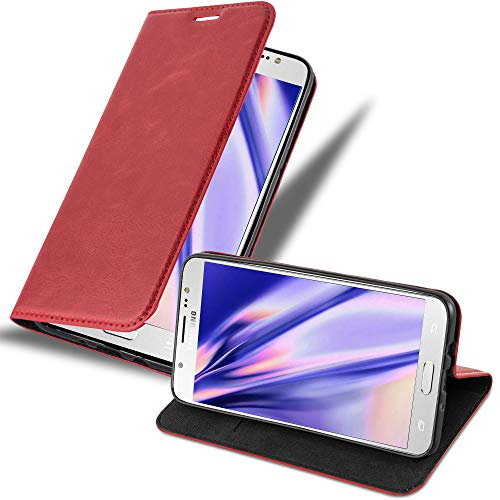 Cadorabo Hülle für Samsung Galaxy J7 2016 in Apfel ROT - Handyhülle mit Magnetverschluss, Standfunktion & Kartenfach - Hülle Cover Schutzhülle Etui Tasche Book Klapp Style