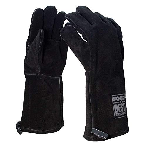 Grillhandschuhe Leder | schwarz | Ofenhandschuhe | Backhandschuh | Rindspaltleder | Hitzebeständig | Premium Topfhandschuhe | Wildleder | BBQ Handschuhe | Backofen | Kamin | Food & Best Friends