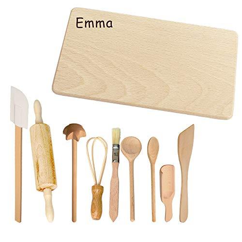 Personalisiertes Kinder Backset mit individueller Namensgravur - Robustes Spielzeug aus Holz mit Namen des Kindes - zum Backen, Kochen, Spielen, garantiert mit Spaß - tolle Geschenkidee