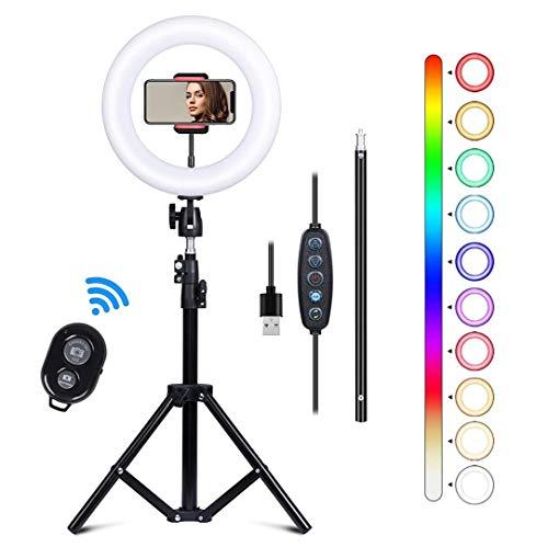 Kalawen Ringlicht mit Stativ 10 Zoll / 25cm Selfie Ringleuchte Licht Set mit 11 Beleuchtungsmodi LED Ring Light mit 2 Handyhalterung Fernbedienung und...