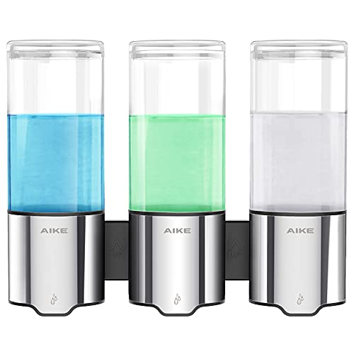 AIKE Triple Automatic Soap and Shower Dispenser 3 Chamber Wall Mount IPX7 Waterproof 3 x 17 fl oz.
