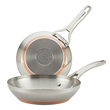 Anolon Nouvelle Copper Stainless Steel Twin Pack French Skillets, 8 /9-1/2 , Silver
