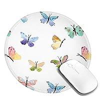 カラフルな蝶 マウスパッド 円形 個性的 おしゃれ 柔軟 かわいい ゴム製裏面 ゲーミングマウスパッド Pc ノートパソコン オフィス用 丸型 デスクマット 滑り止め 耐久性が良い おもしろいパターン