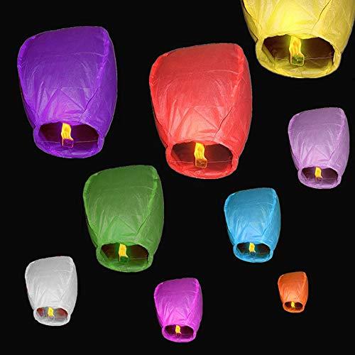 USeeworld 10 Pcs Farolillos Volador Colores Mixtos,Farolillos Voladores Biodegradables Farolillos de Papel,Cielo Linternas Hecho de Papel de Arroz No Inflamable Seguro Cumple Criterios de Seguridad