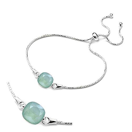 Crystals & Stones Einstellbar Armband *SQUARE* *VIELE FARBEN* - Armband aus 925 Silber mit original ...