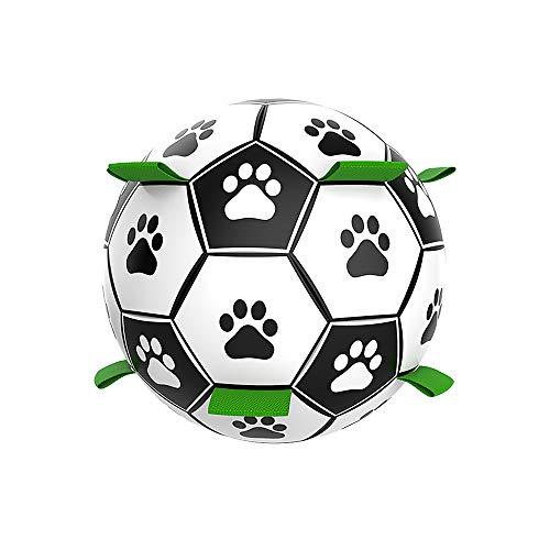 SOHOP Pelota de fútbol para perro, juguete interesante para mascotas con bomba, para interiores y exteriores, unisex, para juegos, competición, entrenamiento, deportes
