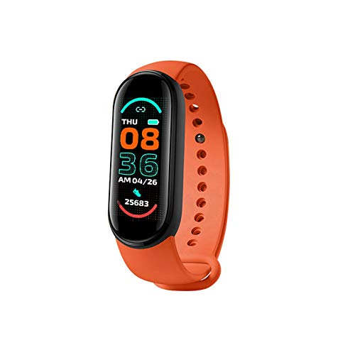 Pulsera Inteligente Podómetro Fitness Reloj Rastreador Sueño Inteligente Contador Pasos Frecuencia Cardíaca Monitor Presión Arterial Pantalla Color Ip67 Impermeable, Regalos para Mamá Papá (Naranja)