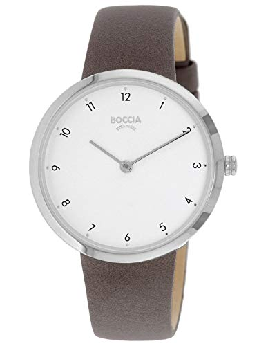 Boccia Damen Analog Quarz Uhr mit Echtes Leder Armband 3315-01