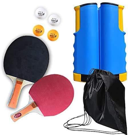 Set da ping pong portatile, retrattile da ping pong, per uso interno/esterno, adatto per scuola, casa, sport in ufficio con 2 pipistrelli da ping pong, 4 palline, 1 blu giallo retrattile