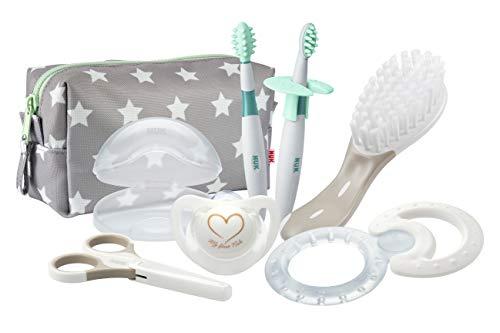 NUK 10256412 Welcome Set, perfekte Erstausstattung für Neugeborene, sieben NUK Produkte in einer schönen Tasche, Weiß/Grau/Mint Neutral - 3