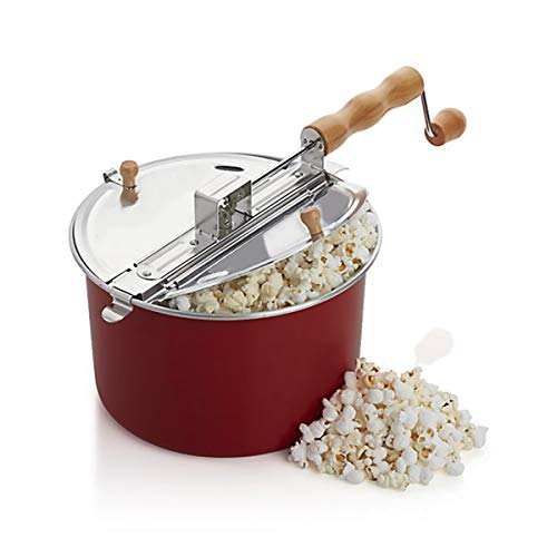 Barton Popcorn Maker Stovetop Pop Popcorn Popper Hand Stirring Crank Cooker Kettle Popcorn Popper Wooden Handle, Red