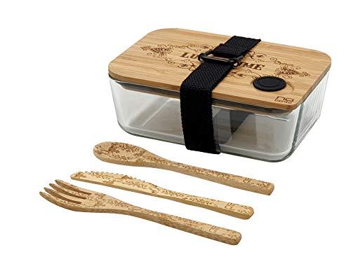 NUBENTO - Le Seul BENTO ZÉRO Plastique - Bento/Lunch Box en Verre et Bambou avec Couverts