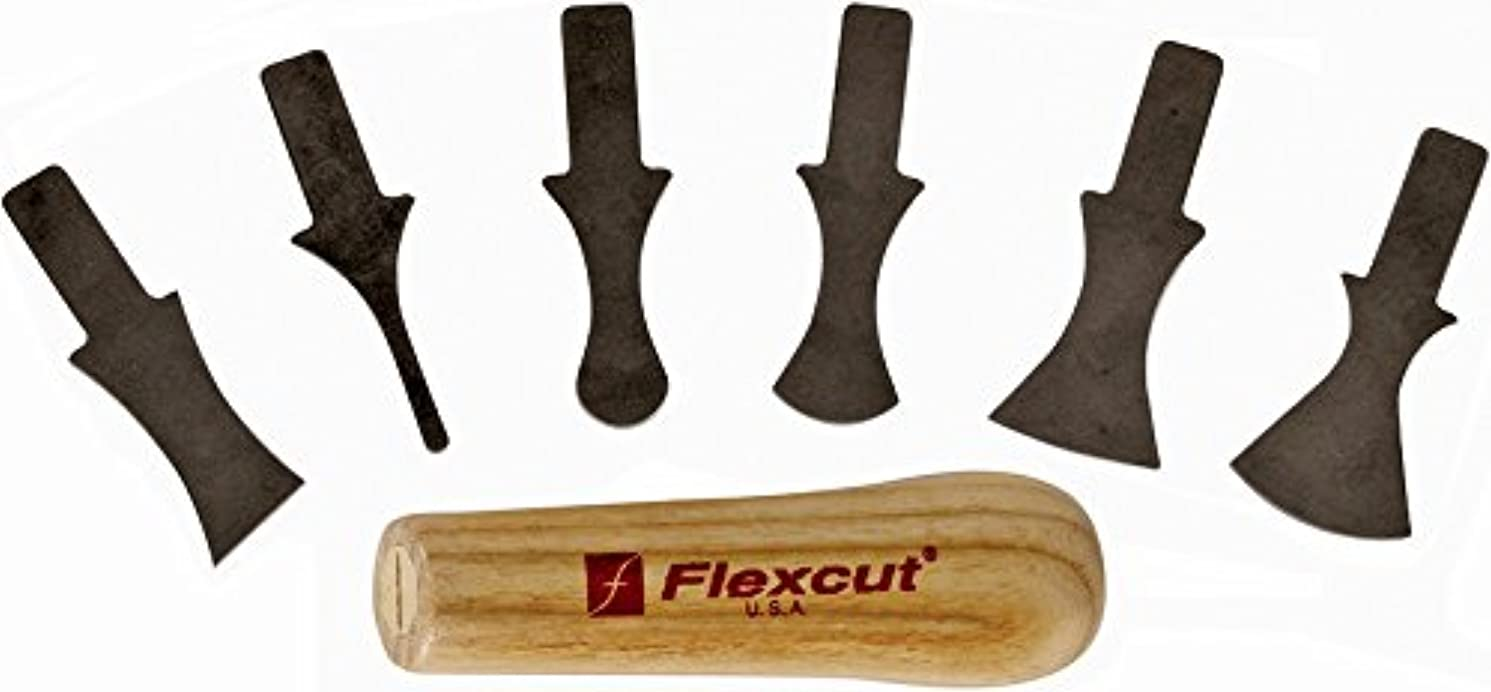 Flexcut Profile Scraper Set, 6 Scraper Bits and Ash Wood Power Handle (SK121)