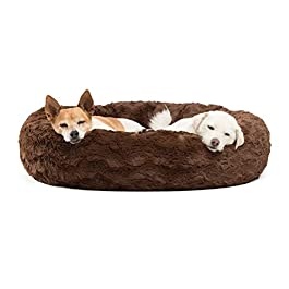 Best Friends by Sheri Luxury Faux Fur Donut Cuddler (30×30″), Dark Chocolate – Small Round Donut Cat and Dog Cushion Bed, Orthopedic Relief