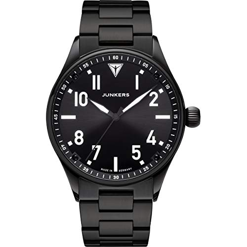 Junkers Flieger Analog Quarz Uhr Edelstahlarmband Saphirglas schwarz 9.03.01.02.M
