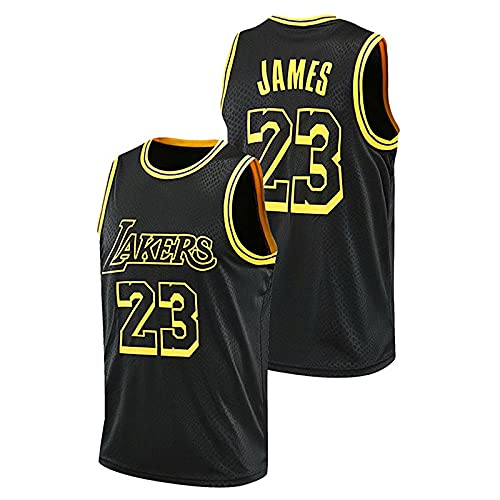 DDSGG Camiseta para Hombre y Mujer - Lebron James # 23 - Camiseta de Malla NBA Lakers Chaleco de Baloncesto Transpirable, Camiseta Deportiva de Manga Corta Bordada Swingman