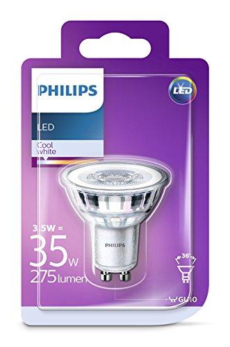 Philips - Bombilla LED Foco GU10 Cristal, 3.5 W, Equivalente a 35 W, Luz Blanca Fría, No Regulable - Pack de 1