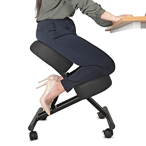 Ergonomic Kneeling Chair Home Office Chairs Thick Cushion Pad Flexible Seating Rolling Adjustable Work Desk Stool Improve Posture Now & Neck Pain - Comfortable Knees and Straight Back