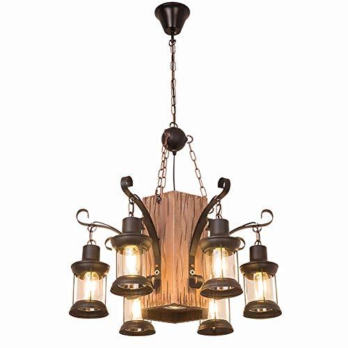 YQDSY Lámpara de Madera Industrial Rústica, Elegante Colgante de la Vendimia Iluminación de la Barra de la Barra de Las Luces de Techo con la Lámpara de Cristal para la Sala de Esta