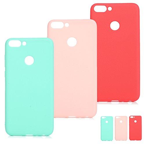 SUPWALL 3 Unidades Funda Silicona para Huawei P Smart, Flexible Cascara Ultrafina Suave, Case Anti-Rasguño y Resistente Huellas, Premium Gel TPU Cover Goma - Rosa + Rojo + Verde Menta