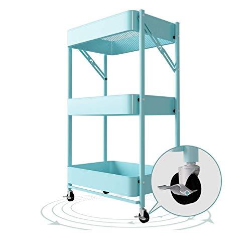 Carrito CXIA Almacenamiento Plegable 3 Niveles, Organizador Multiusos con Ruedas, para Baño/Cocina/Oficina/Biblioteca/Dormitorio-45x29.5x77cm(Color:Azul...