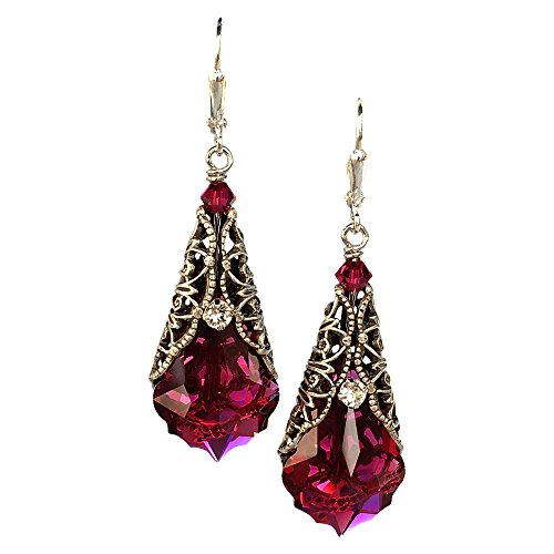 HisJewelsCreations Romantic Red Vintage Inspired Filigree Baroque Crystal Earrings for Women with Jewelry Gift Box Valentines Day