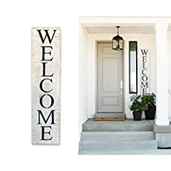 THE PERFECT SOLUTION: Whether you're looking to add a lovely rustic touch to your front porch or you think it's time you replaced that classic outdated WELCOME mat with something a bit more visible, this vertical Welcome sign for front door is the pe...